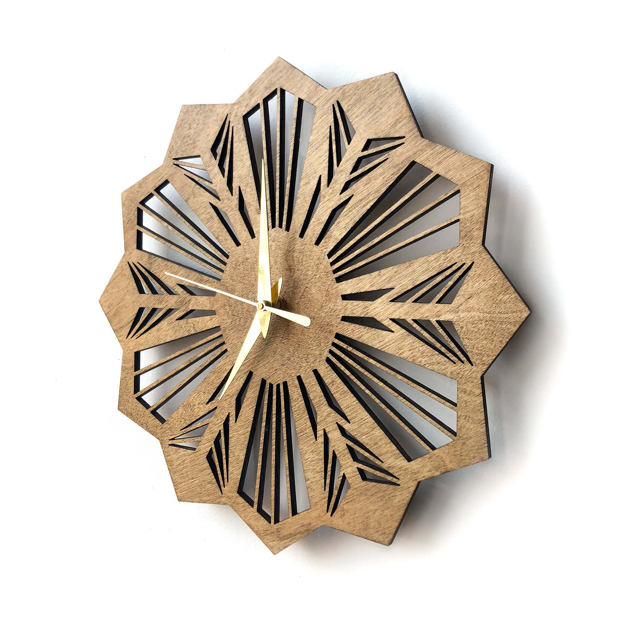 Laser Cut Wall Clock Penta Gem Laser Eye Noda Design